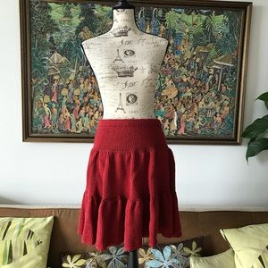 Dresses & Skirts - Vogue Design  Red Knit Pleat Tiered Circle Skirt M